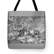 Takin It Easy Tiger Black And White Tote Bag