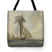 Taking Crew To An English Frigate Near The Needles Isle Of Wight By Robert Cleveley Tote Bag