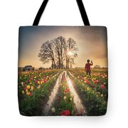 Taking Sunset Pictures Using A Mobile Phone Tote Bag