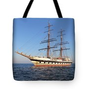 Tall Ship Anchored Off Penzance Tote Bag