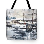 Tall Ship In Sydney Harbour Tote Bag