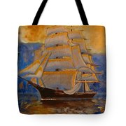 Tall Ship In The Sunset Tote Bag
