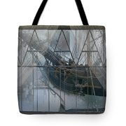 Tall Ship Through A Window Tote Bag