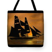 Tall Ship With A Harvest Moon Tote Bag