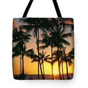 Tall Sunset Palms Tote Bag