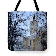 Tallin Church In Winter Tote Bag