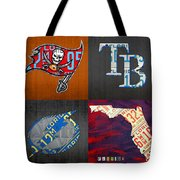 Tampa Bay Sports Fan Recycled Vintage Florida License Plate Art Bucs Rays Lightning Plus State Map Tote Bag