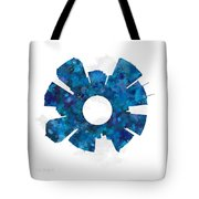 Tampa Cityscape And Streetmap Skyline Blue Tote Bag
