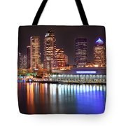 Tampa Skyline At Night Early Evening Tote Bag