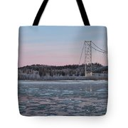 Tanana River With Pipeline - Early Morning Tote Bag