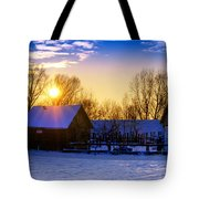 Tarchomin Sunset Tote Bag by Tomasz Dziubinski