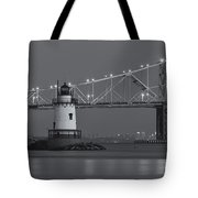 Tarrytown Lighthouse And Tappan Zee Bridge At Twilight II Tote Bag