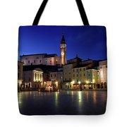 Tartini Square Plaza In Piran Slovenia With City Hall, Tartini S Tote Bag