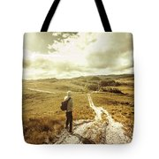 Tasmanian Man On Road In Nature Reserve Tote Bag