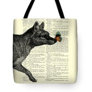 Tasmanian Tiger And Orange Butterfly Antique Illustration On Dictionary Page Tote Bag