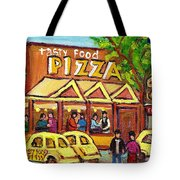 Tasty Food Pizza On Decarie Blvd Tote Bag