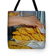 Tasty Hot Empanadas For Lunch In Angelmo Fish Market In Puerto Montt-chile Tote Bag