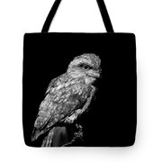 Tawny Frogmouth In Black And White Tote Bag