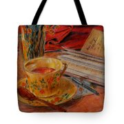Tea And Diary Tote Bag