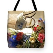 Tea Cup Bed Coil Floral Tote Bag