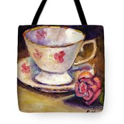 Tea Cup With Rose Still Life Grace Venditti Montreal Art Tote Bag