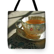 Teacup On Lace Tote Bag