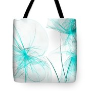Teal Abstract Flowers Tote Bag