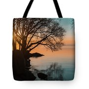 Teal And Orange Morning Tranquility With Rocks And Willows Tote Bag