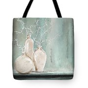 Teal And White Art Tote Bag