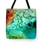 Teal Aqua Art - Connected - Sharon Cummings Tote Bag