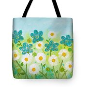 Teal Flowers And Daisies Tote Bag