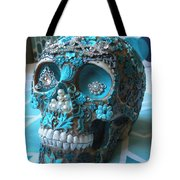 Teal Gem Art Skull Tote Bag