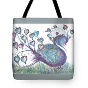 Teal Hearted Peacock Watercolor Tote Bag