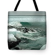 Teal Winter Waters Tote Bag by James Peterson