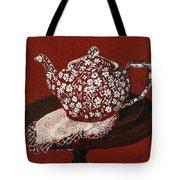 Teapot Calico Red Tote Bag