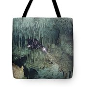 Technical Diver In Cave System, Mexico Tote Bag