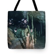 Technical Divers In Dreamgate Cave Tote Bag