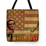 Ted Cruz For President Imagine Speech 2016 Usa Watercolor Portrait On Distressed American Flag Tote Bag