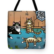 Cats Having Fun Playing With Spiders Tote Bag