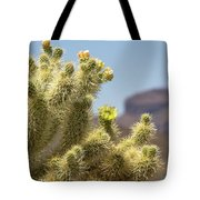 Teddy Bear Cholla Cactus With Flower Tote Bag