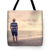 Teen Boy On Beach Tote Bag