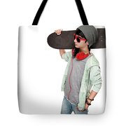 Teen Boy With Skateboard Tote Bag