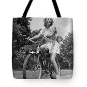 Teeng Girl Riding Bike On Sidewalk Tote Bag