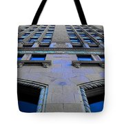 Telephone Building With Indigo Reflections Tote Bag