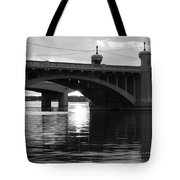 Tempe Town Lake Bridge Black And White Tote Bag