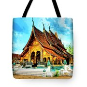 Temple In Laos Tote Bag