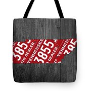 Tennessee State License Plate Map Tote Bag