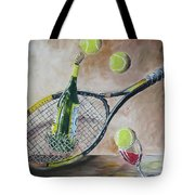 Tennis And Wine Tote Bag