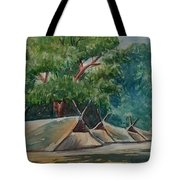 Tents Under Tree Tote Bag