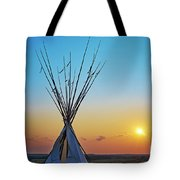Tepee At Sunset Tote Bag